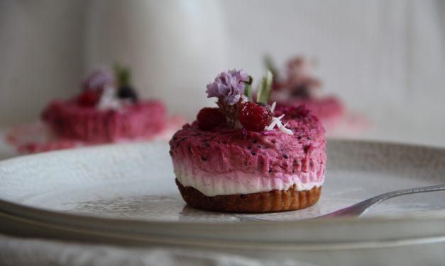 Kokosový mini cheesecake bez cukru s pitahayou